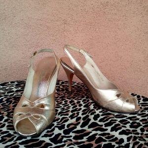 1950s Gold Stilettos Peep Toe High Heel Shoes US7